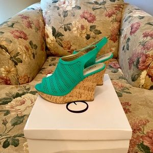 Cato Shoes - Cato Pool Green Wedges. Size 7. NWT.